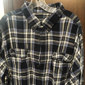 Faded Glory Blue and Black Flannel Shirt 3XL